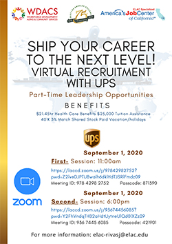 SHIP YOUR CAREER TO THE NEXT LEVEL! VIRTUAL RECRUITMENT WITH UPS Part-Time Leadership Opportunities