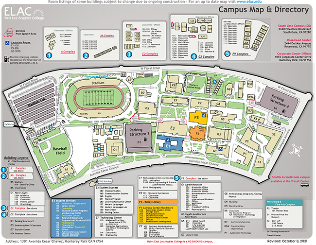 East Los Angeles College Map ELAC   Campus Map