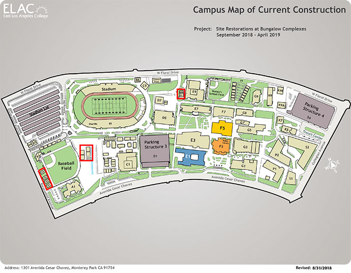 East Los Angeles College Map ELAC   Construction Map