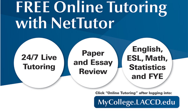 "FREE ""NET TUTOR"" FOR ALL LACCD STUDENTS BEGINS AUG. 26, 2019"